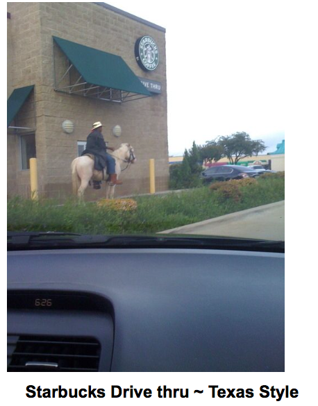 Starbucks Drive-through, Texas-style