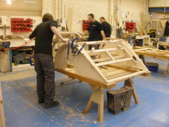 Ash wood being formed for Morgan bodies