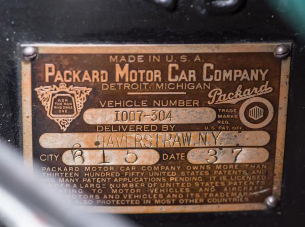 1937 Packard Super Eight data plate