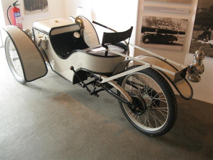 An early Morgan 3 wheeler/rear view
