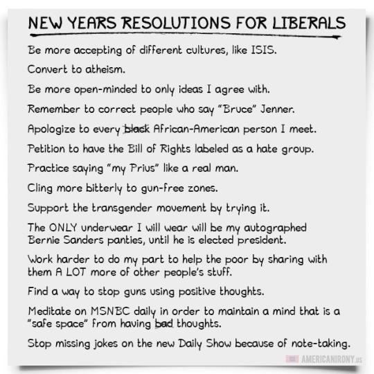 Librul Noo Year Resolution