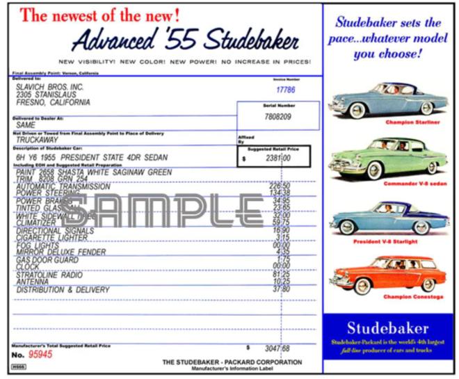 '55 Studebaker window sticker