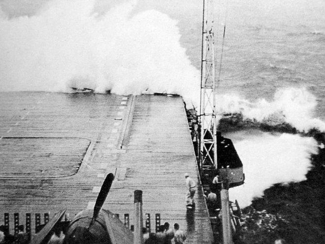CV-12 in typhoon
