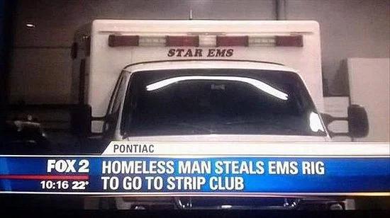 Homeless Man Steals Ambulance