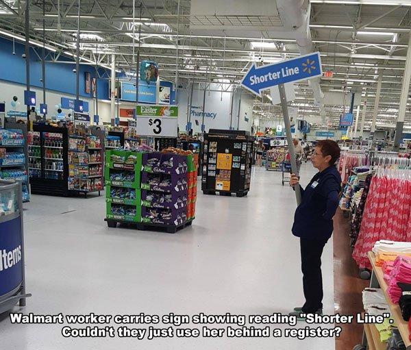 Walmart:shorter line