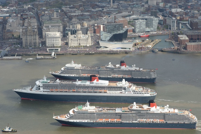 Cunard's Three Queens sail down Mersey, Liverpool, Britain - 25 May 2015
