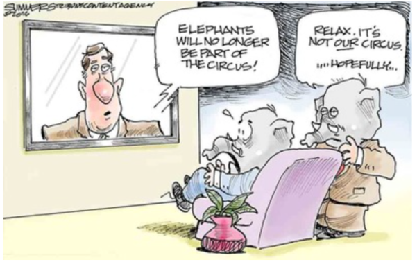 Trump-elephant circus