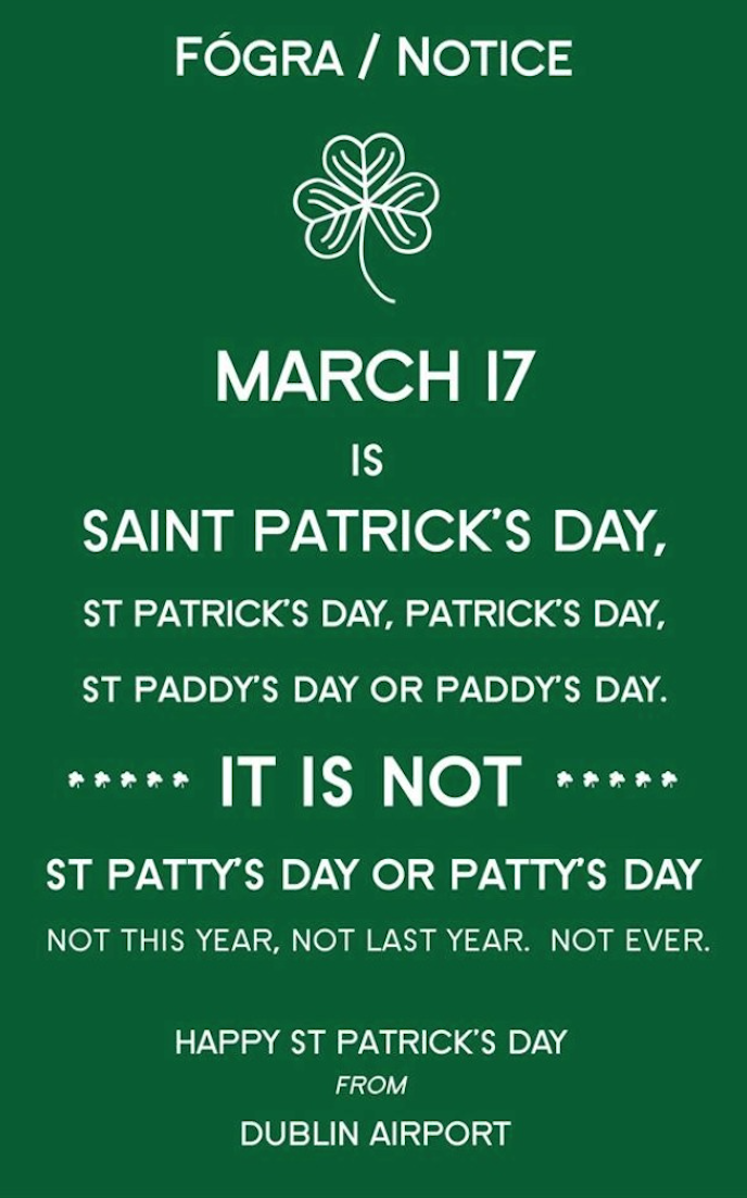 St. Paddy's Day notice