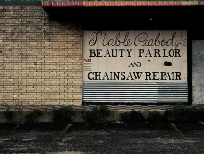 Redneck-beauty-parlor-chain-saw-repair