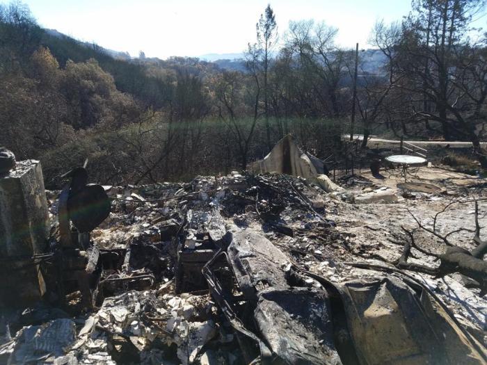 Burned out Land Rover-garage