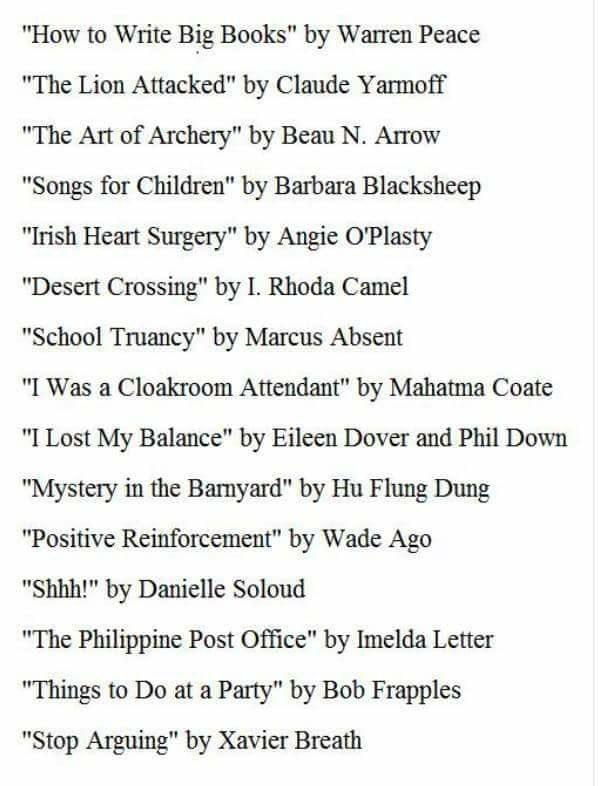 Hugh Jass's-Reading-List