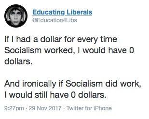 socialism=zero dollars