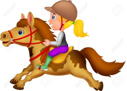 Blonde riding horseback