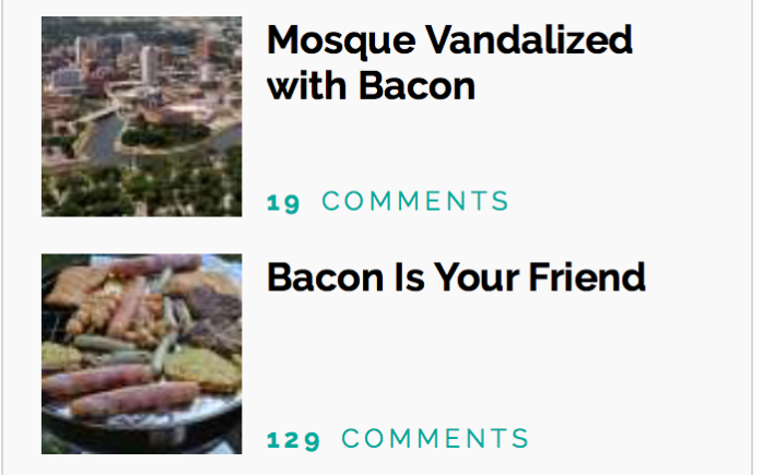 Mosque vandalized with Bacon