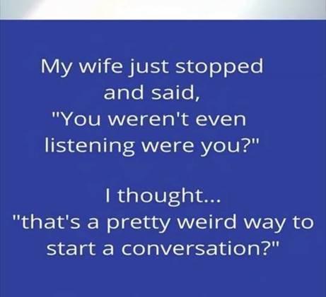 Wedded bliss-You weren't listening
