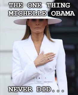 Melania-hand over heart
