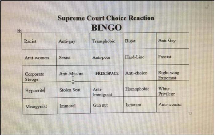 Supreme Court Bingo