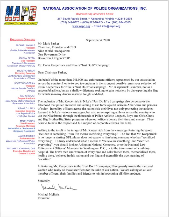 NAPO letter