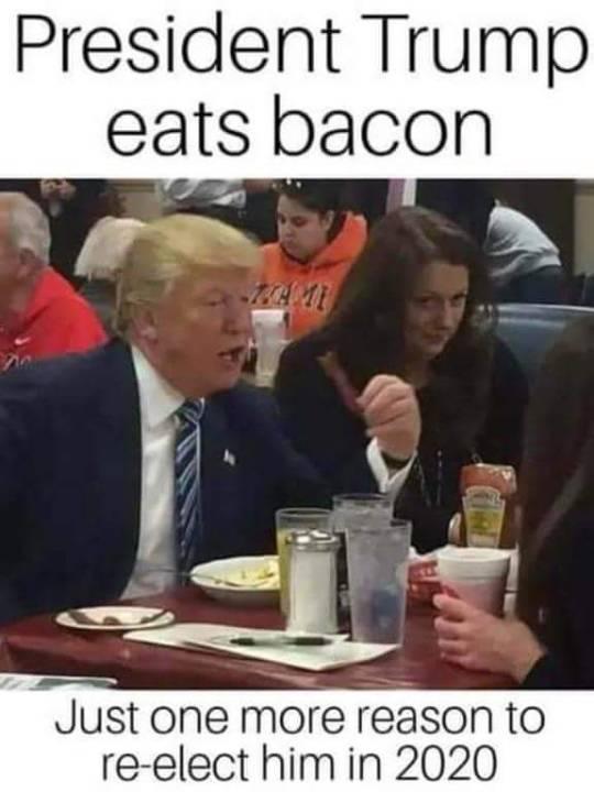 Trump eats bacon