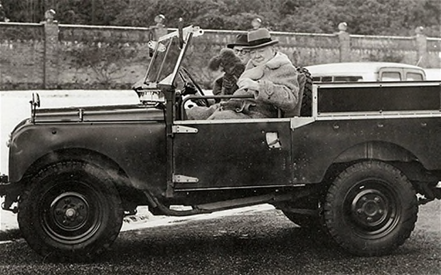 Churchill in his Land Rover