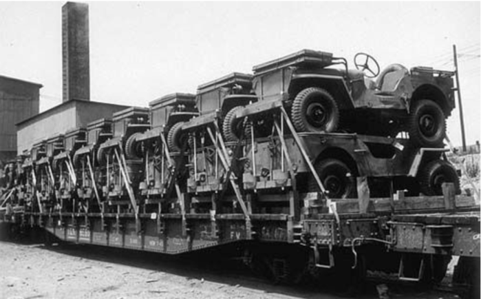 Jeeps leaving the factory