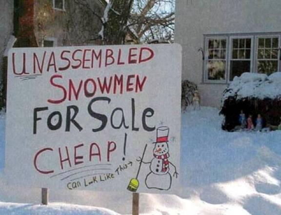 Unassembled snowmen