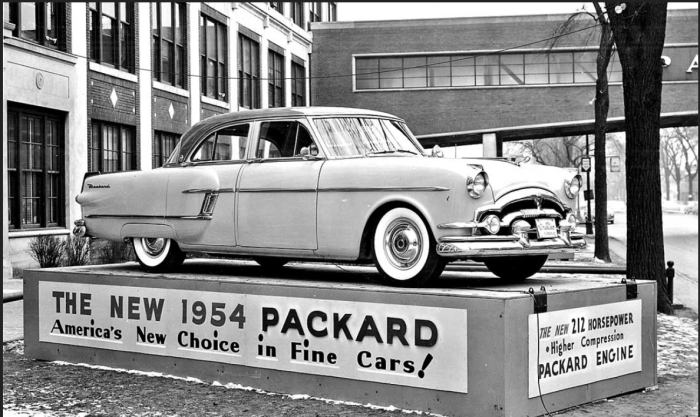 1954 patrician in front of packard bridge