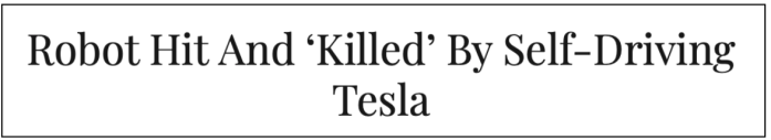 robot hit by tesla