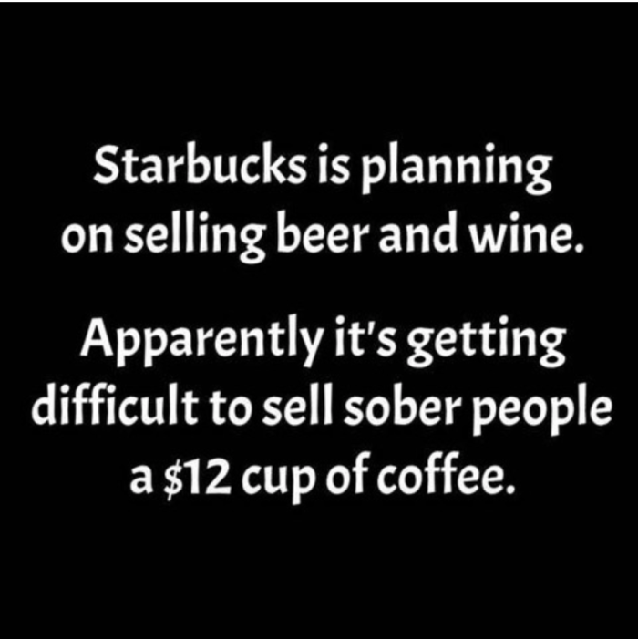 starbucks beer and wine