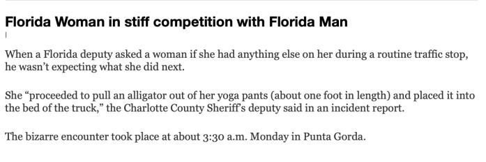 Floriduh woman-alligator in pants