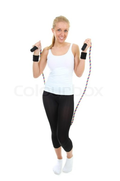 Blonde skipping rope