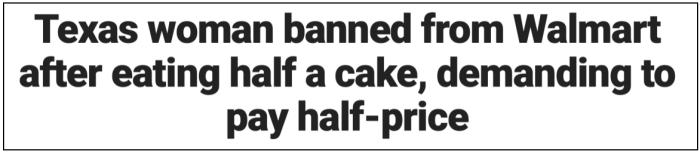 Half Walmart cake