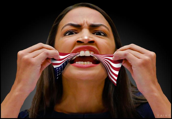 AOC using the flag as dental floss