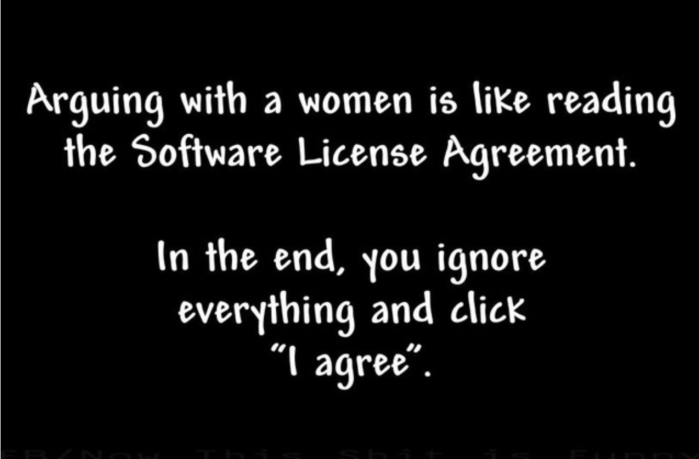 Arguing with woman-software license