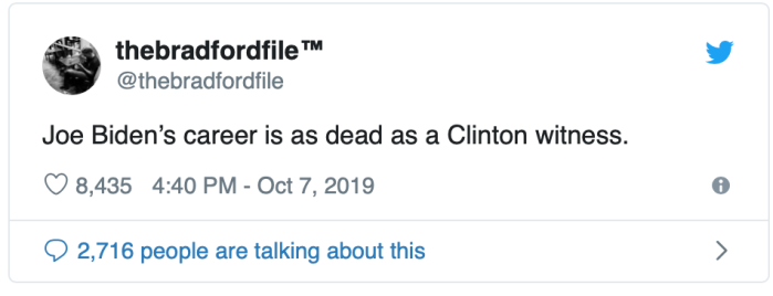 Biden's career dead as a Clinton witness
