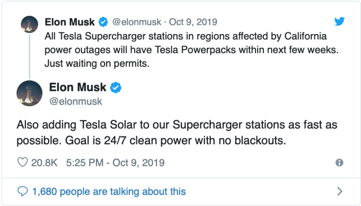 Elon Musk-Tesla charging station tweet