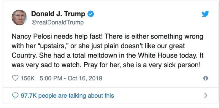 Trump Tweet-Nancy P. Lousy needs help!