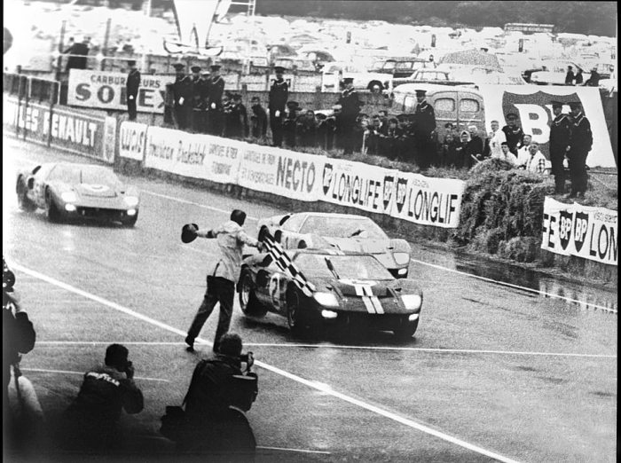 1966 Ford GT-40 checkered flag at Le Mans