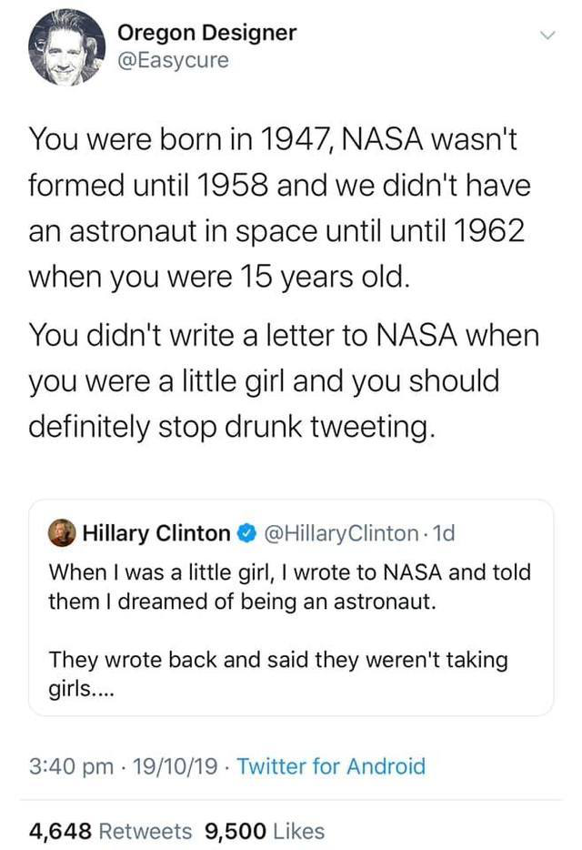 Hitlery-drunk tweet-NASA