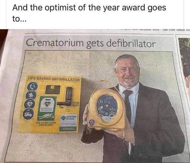 Crematorium-defibrillator