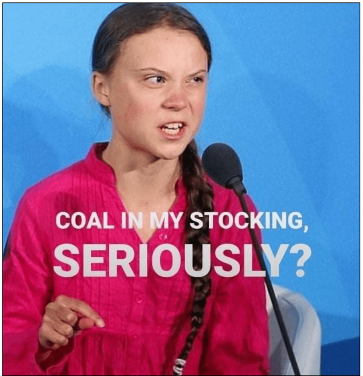 Thunberg-coal in stocking