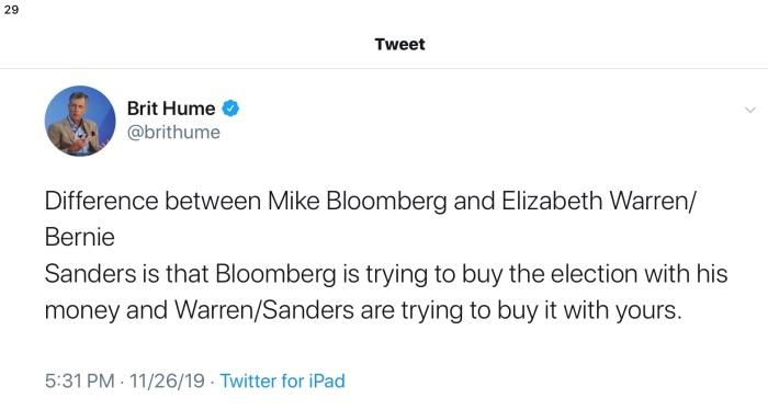 Brit Hume Tweet-Bloomberg vs Fauxcahontas