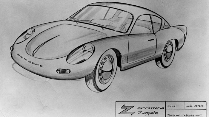 Porsche-Zagato coupe-drawing 1959