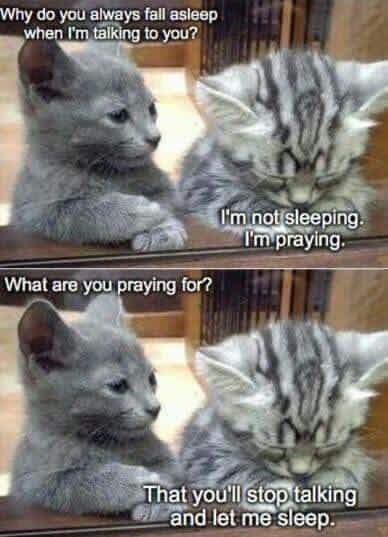Praying you'll stop talking
