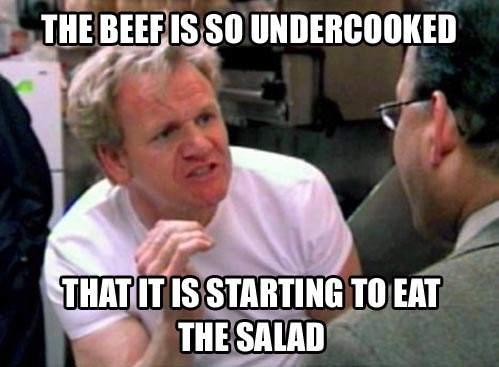 Beef is undercooked