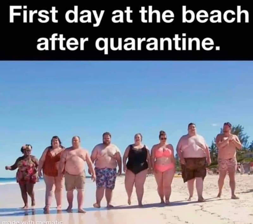 On the beach after quarantine