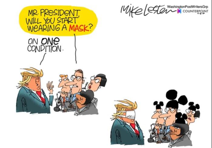 Trump wears a mask